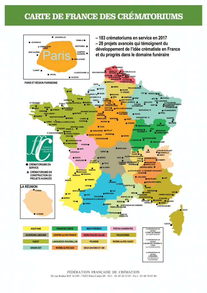 Carte Crématoriums france